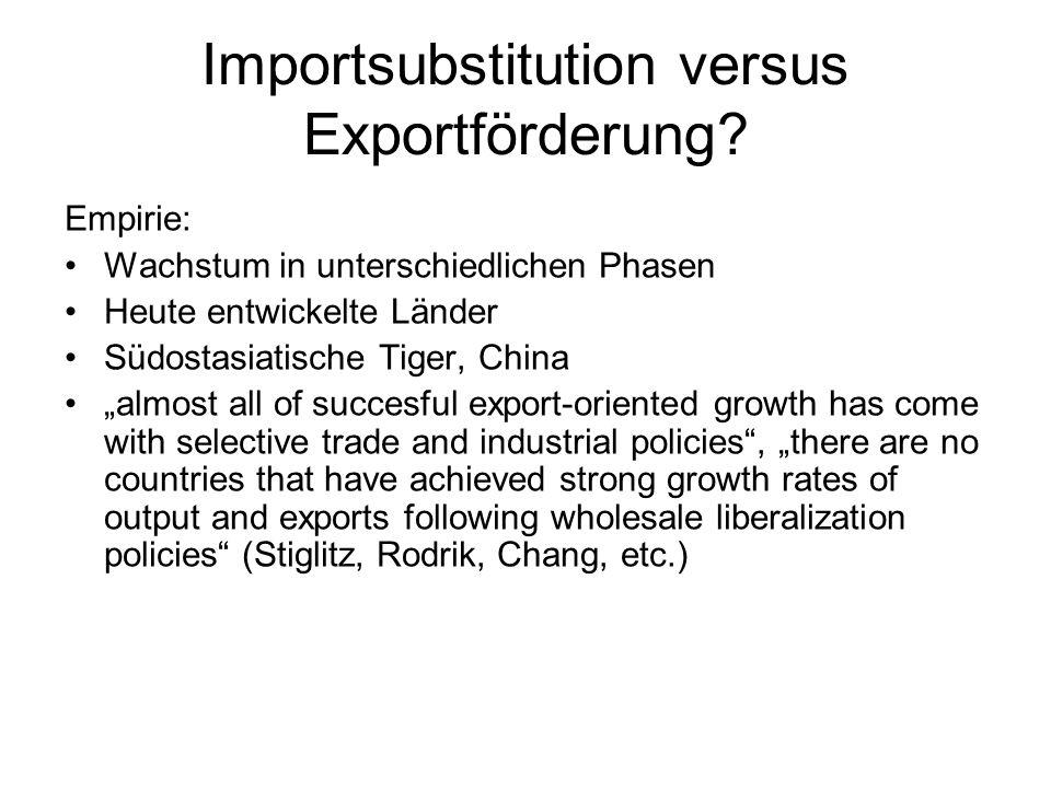 Importsubstitution versus Exportförderung? Empirie: Wachstum in unterschiedlichen Phasen Heute entwickelte Länder Südostasiatische Tiger, China almost
