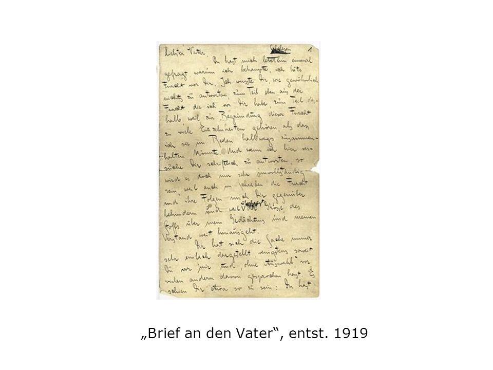 Brief an den Vater, entst. 1919