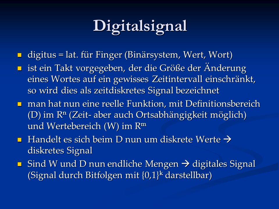 Analogsignal ist ein Signal, bei dem zw. 2 Extrema kontinuierlich jeder Wert angenommen werden kann. ist ein Signal, bei dem zw. 2 Extrema kontinuierl