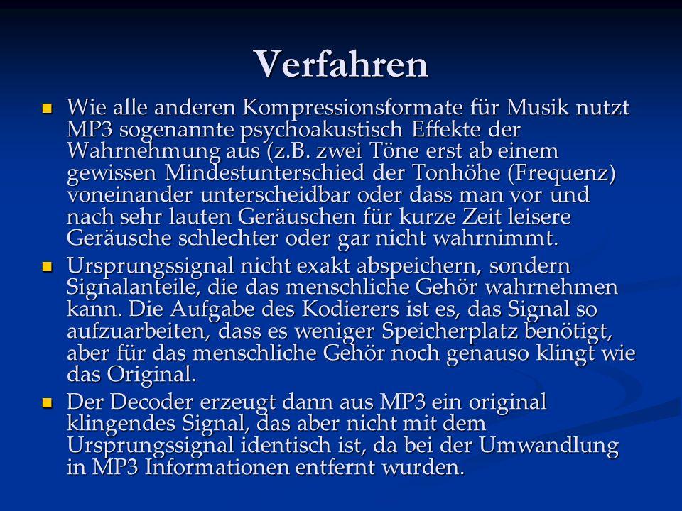 Verfahren Wie alle anderen Kompressionsformate für Musik nutzt MP3 sogenannte psychoakustisch Effekte der Wahrnehmung aus (z.B.