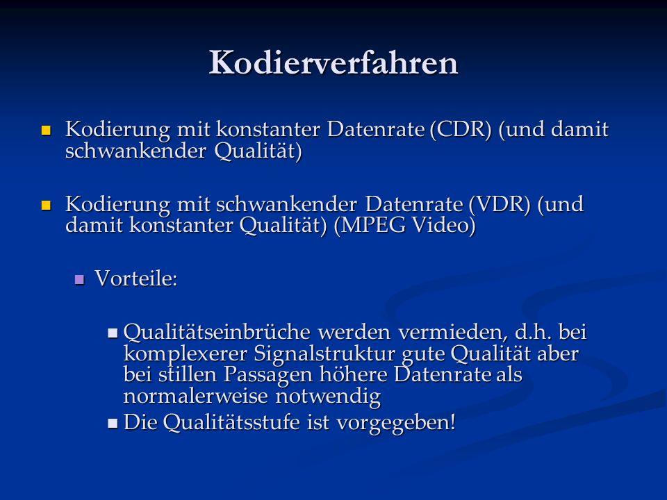 Kodierverfahren Kodierung mit konstanter Datenrate (CDR) (und damit schwankender Qualität) Kodierung mit konstanter Datenrate (CDR) (und damit schwankender Qualität) Kodierung mit schwankender Datenrate (VDR) (und damit konstanter Qualität) (MPEG Video) Kodierung mit schwankender Datenrate (VDR) (und damit konstanter Qualität) (MPEG Video) Vorteile: Vorteile: Qualitätseinbrüche werden vermieden, d.h.