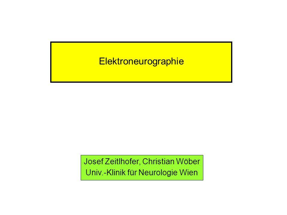 Elektroneurographie Polyneuropathien (PNP) primär axonale Läsionen: in erster Linie Reduktion der SPA Beispiel: Alkohol-induzierte PNP primär demyelinisierende Läsionen: in erster Linie Verlangsamung der max.