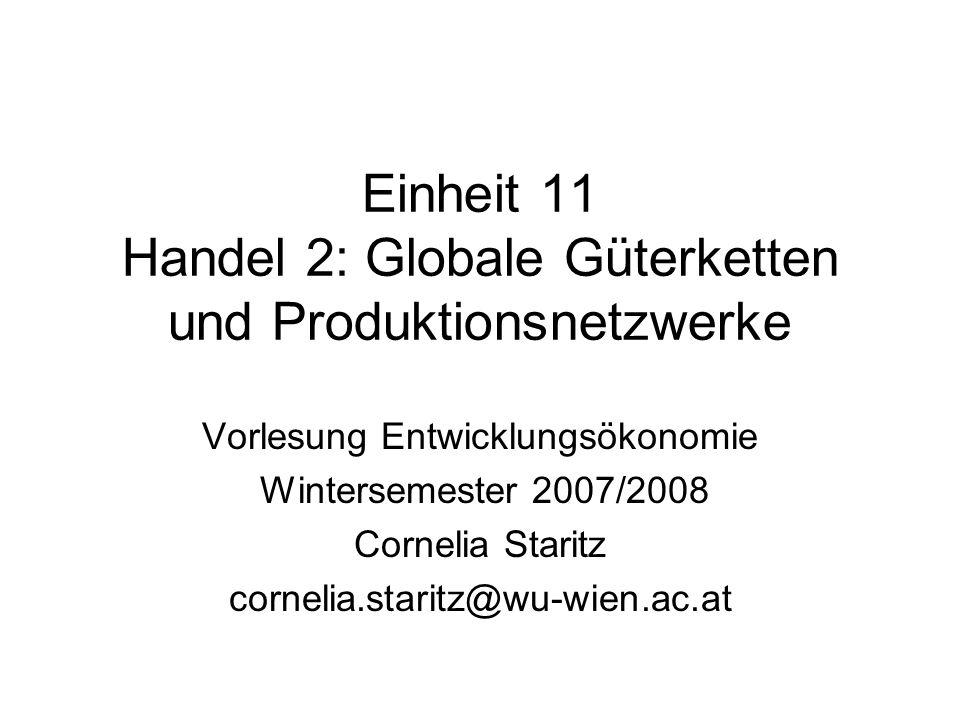 Überblick Veränderungen in der globalen Ökonomie Probleme traditioneller Handelstheorien Globale Güterketten und Produktionsnetzwerke Unterschiedliche Ansätze: CC, GCC, GVC und GPN Produktionsnetzwerke und Entwicklung