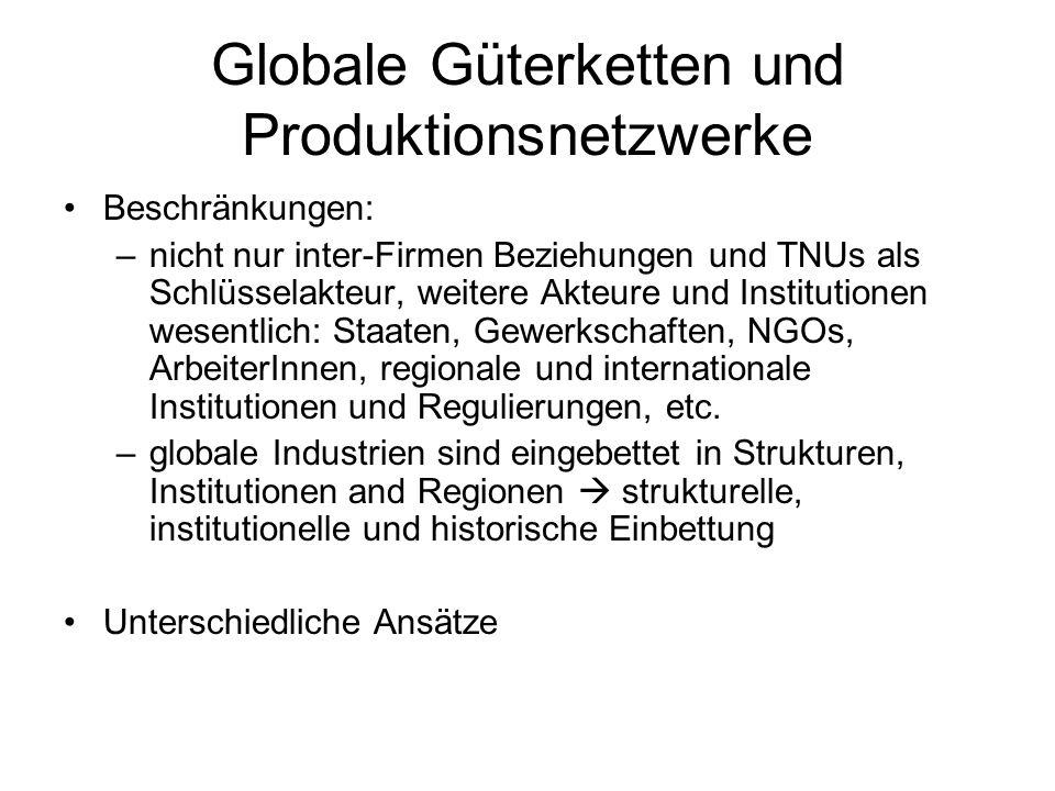 Beschränkungen: –nicht nur inter-Firmen Beziehungen und TNUs als Schlüsselakteur, weitere Akteure und Institutionen wesentlich: Staaten, Gewerkschafte