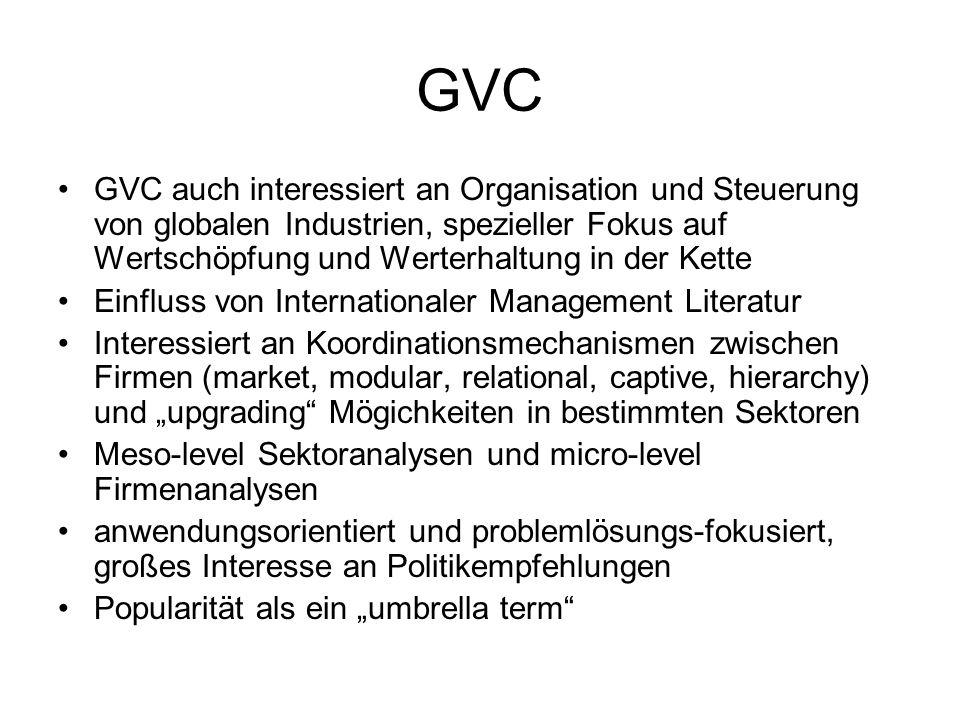 GVC GVC auch interessiert an Organisation und Steuerung von globalen Industrien, spezieller Fokus auf Wertschöpfung und Werterhaltung in der Kette Ein