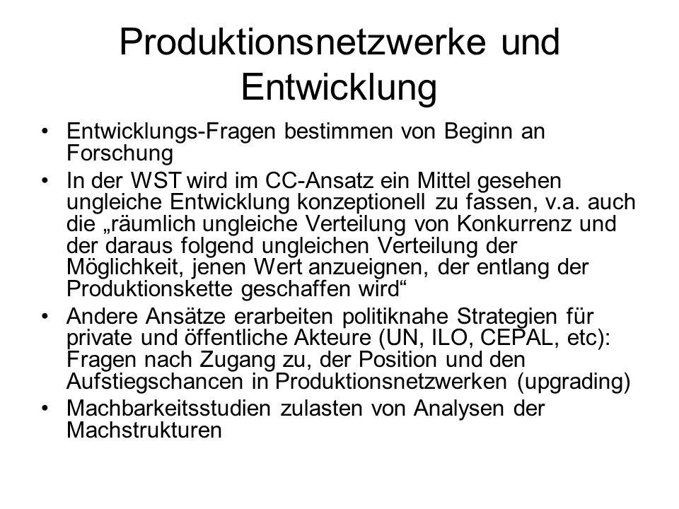 Produktionsnetzwerke und Entwicklung Entwicklungs-Fragen bestimmen von Beginn an Forschung In der WST wird im CC-Ansatz ein Mittel gesehen ungleiche E