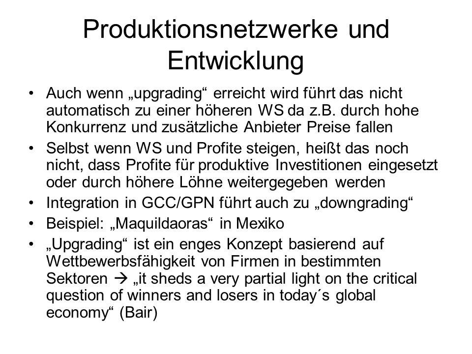 Produktionsnetzwerke und Entwicklung Auch wenn upgrading erreicht wird führt das nicht automatisch zu einer höheren WS da z.B. durch hohe Konkurrenz u