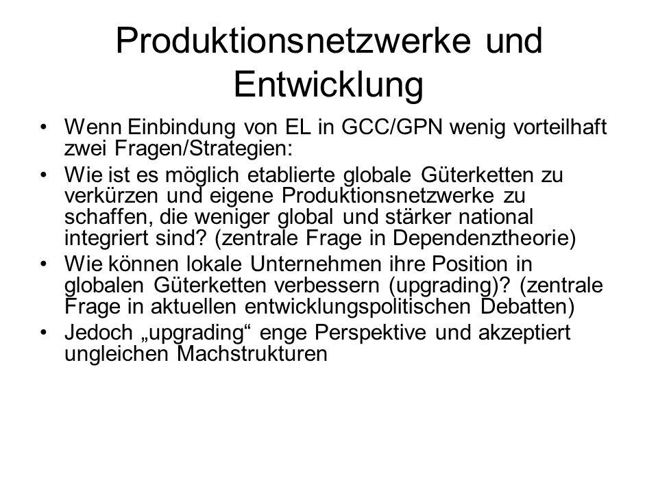 Produktionsnetzwerke und Entwicklung Wenn Einbindung von EL in GCC/GPN wenig vorteilhaft zwei Fragen/Strategien: Wie ist es möglich etablierte globale