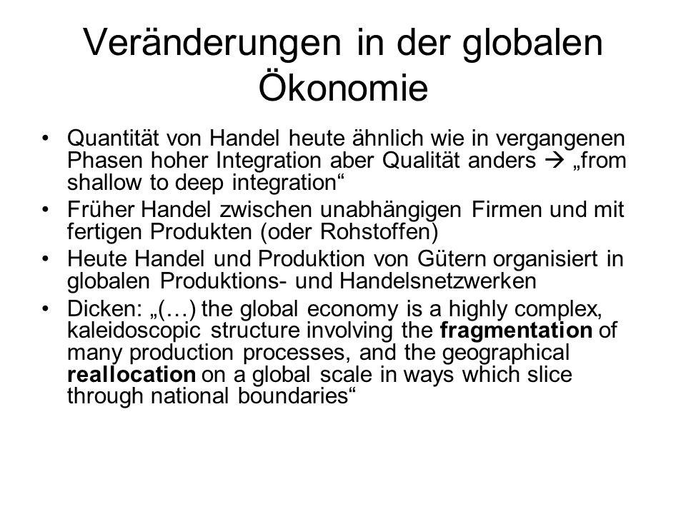 Veränderungen in der globalen Ökonomie Quantität von Handel heute ähnlich wie in vergangenen Phasen hoher Integration aber Qualität anders from shallo