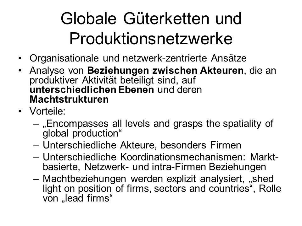 Globale Güterketten und Produktionsnetzwerke Organisationale und netzwerk-zentrierte Ansätze Analyse von Beziehungen zwischen Akteuren, die an produkt