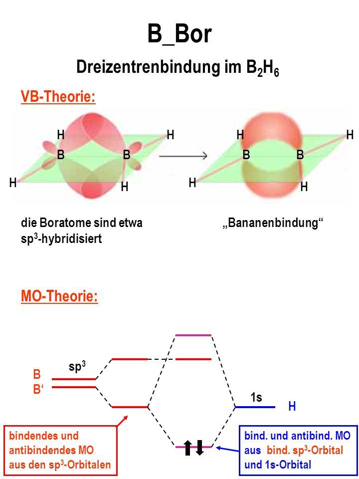 B_Bor B H BBB HH H H H H H die Boratome sind etwa sp 3 -hybridisiert Bananenbindung Dreizentrenbindung im B 2 H 6 VB-Theorie: MO-Theorie: sp 3 1s H B B bindendes und antibindendes MO aus den sp 3 -Orbitalen bind.