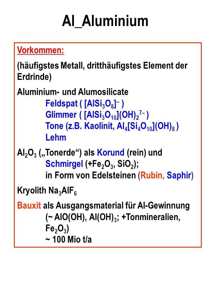 Al_Aluminium Vorkommen: (häufigstes Metall, dritthäufigstes Element der Erdrinde) Aluminium- und Alumosilicate Feldspat ( [AlSi 3 O 8 ] – ) Glimmer ( [AlSi 3 O 10 ](OH) 2 7– ) Tone (z.B.