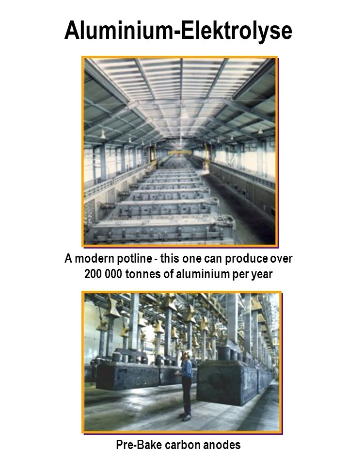 A modern potline - this one can produce over 200 000 tonnes of aluminium per year Pre-Bake carbon anodes Aluminium-Elektrolyse