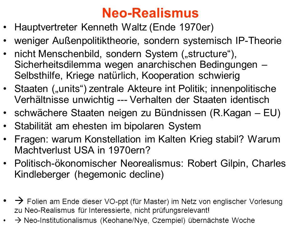 Neo-Realismus Hauptvertreter Kenneth Waltz (Ende 1970er) weniger Außenpolitiktheorie, sondern systemisch IP-Theorie nicht Menschenbild, sondern System