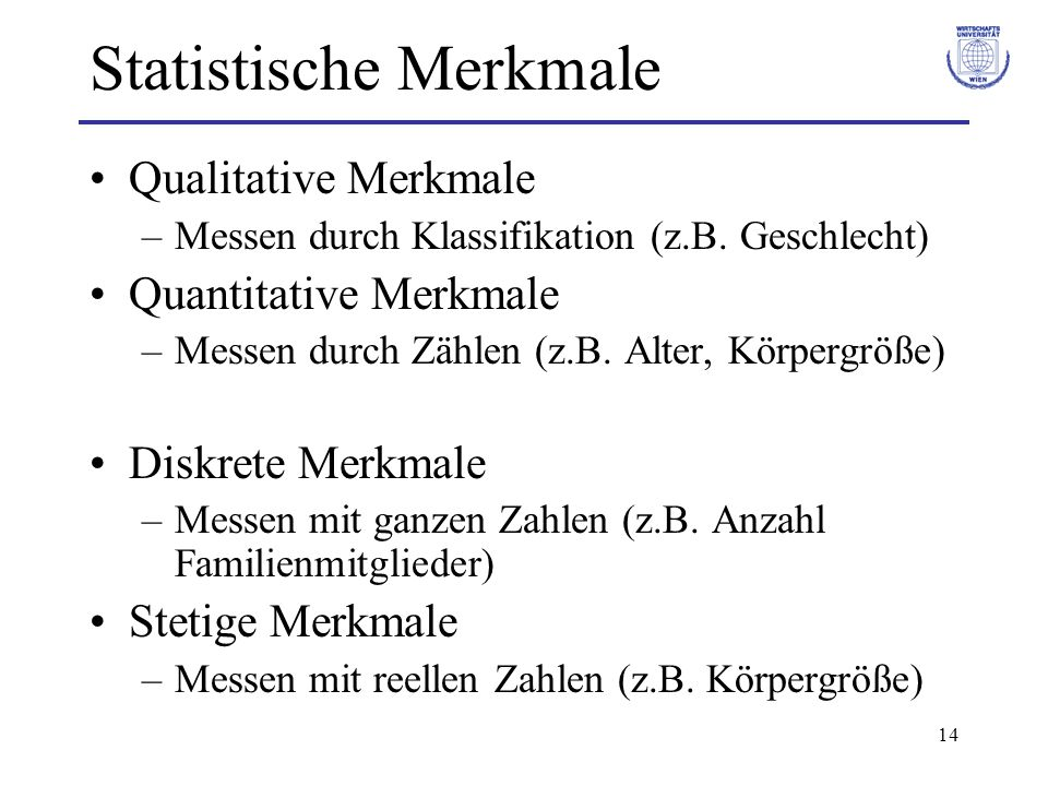 14 Statistische Merkmale Qualitative Merkmale –Messen durch Klassifikation (z.B. Geschlecht) Quantitative Merkmale –Messen durch Zählen (z.B. Alter, K