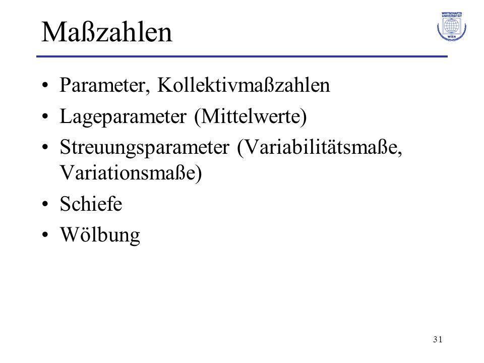 31 Maßzahlen Parameter, Kollektivmaßzahlen Lageparameter (Mittelwerte) Streuungsparameter (Variabilitätsmaße, Variationsmaße) Schiefe Wölbung