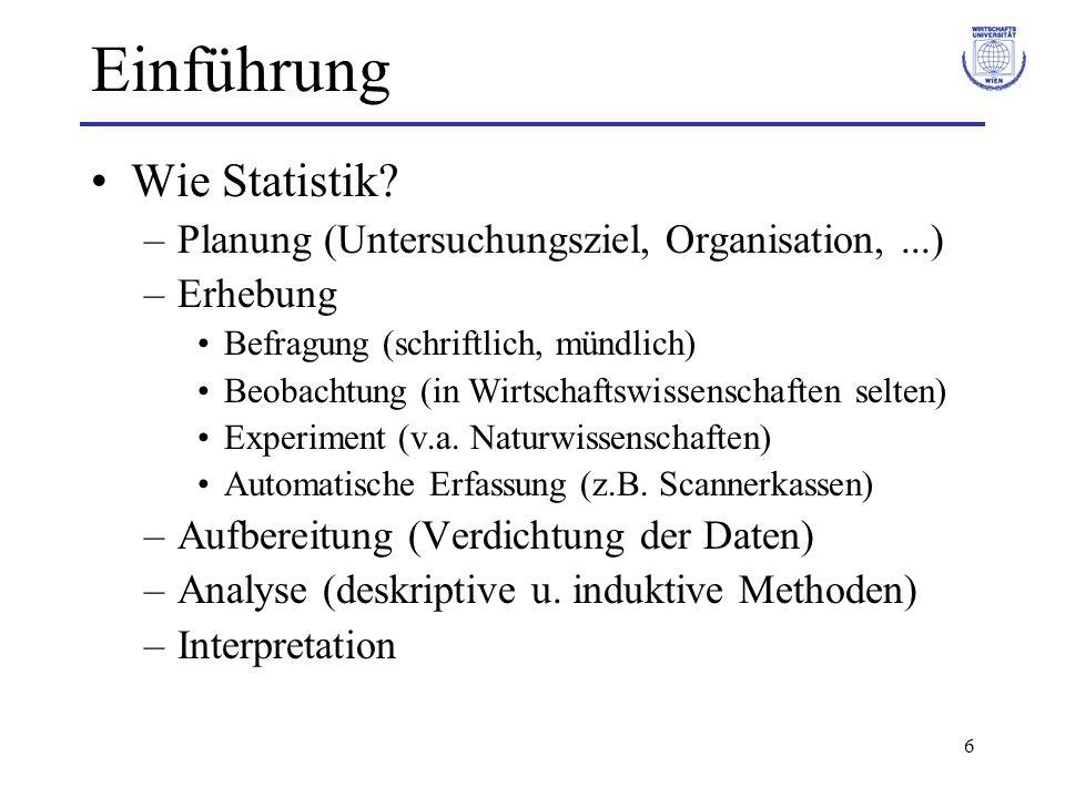 6 Einführung Wie Statistik? –Planung (Untersuchungsziel, Organisation,...) –Erhebung Befragung (schriftlich, mündlich) Beobachtung (in Wirtschaftswiss
