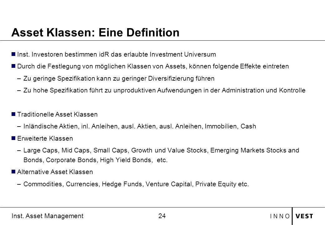 24 Inst. Asset Management Asset Klassen: Eine Definition Inst. Investoren bestimmen idR das erlaubte Investment Universum Durch die Festlegung von mög