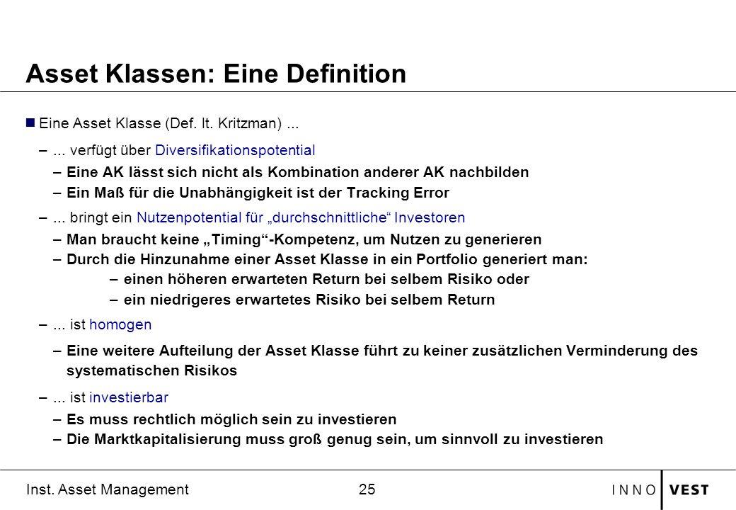 25 Inst. Asset Management Asset Klassen: Eine Definition Eine Asset Klasse (Def. lt. Kritzman)... –... verfügt über Diversifikationspotential –Eine AK
