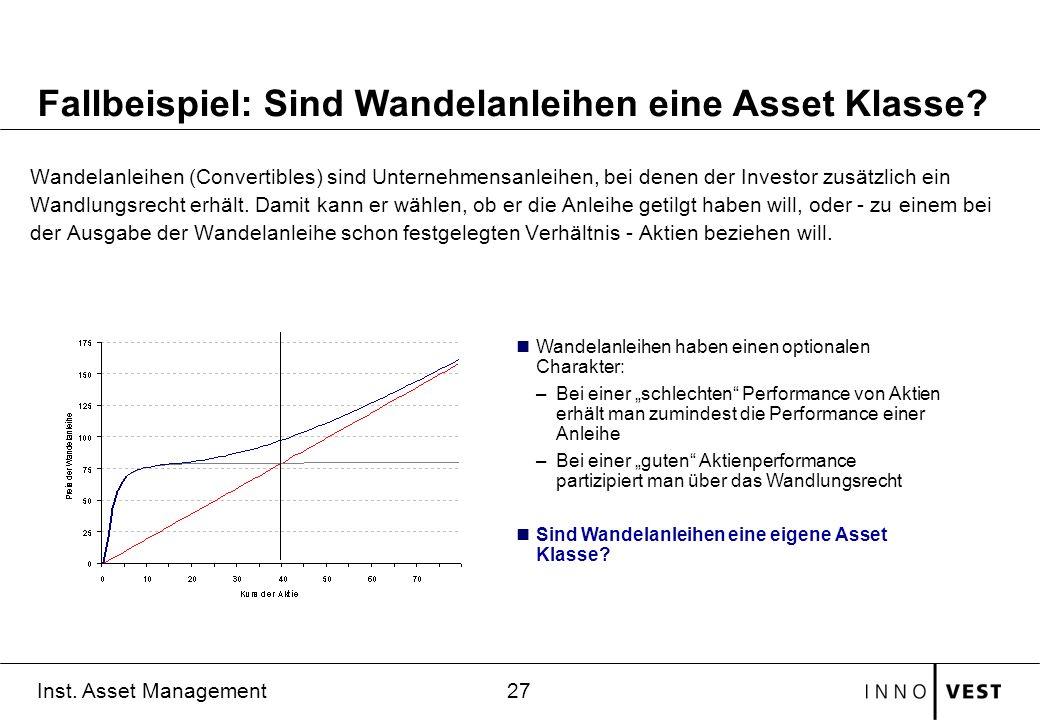 27 Inst. Asset Management Wandelanleihen (Convertibles) sind Unternehmensanleihen, bei denen der Investor zusätzlich ein Wandlungsrecht erhält. Damit
