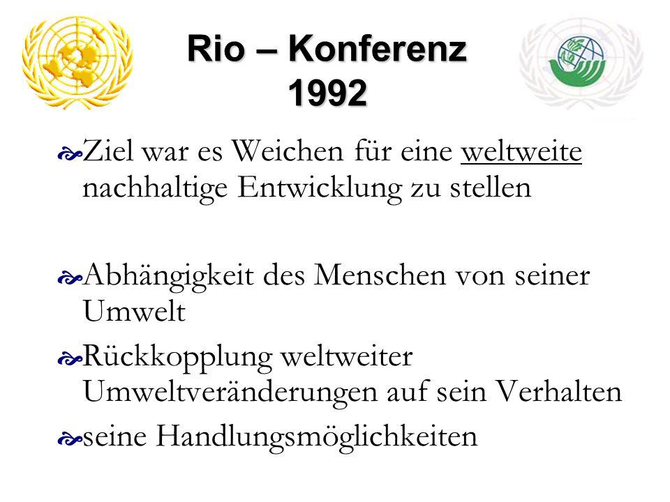 Rio – Konferenz 1992 Ziel war es Weichen für eine weltweite nachhaltige Entwicklung zu stellen Abhängigkeit des Menschen von seiner Umwelt Rückkopplun
