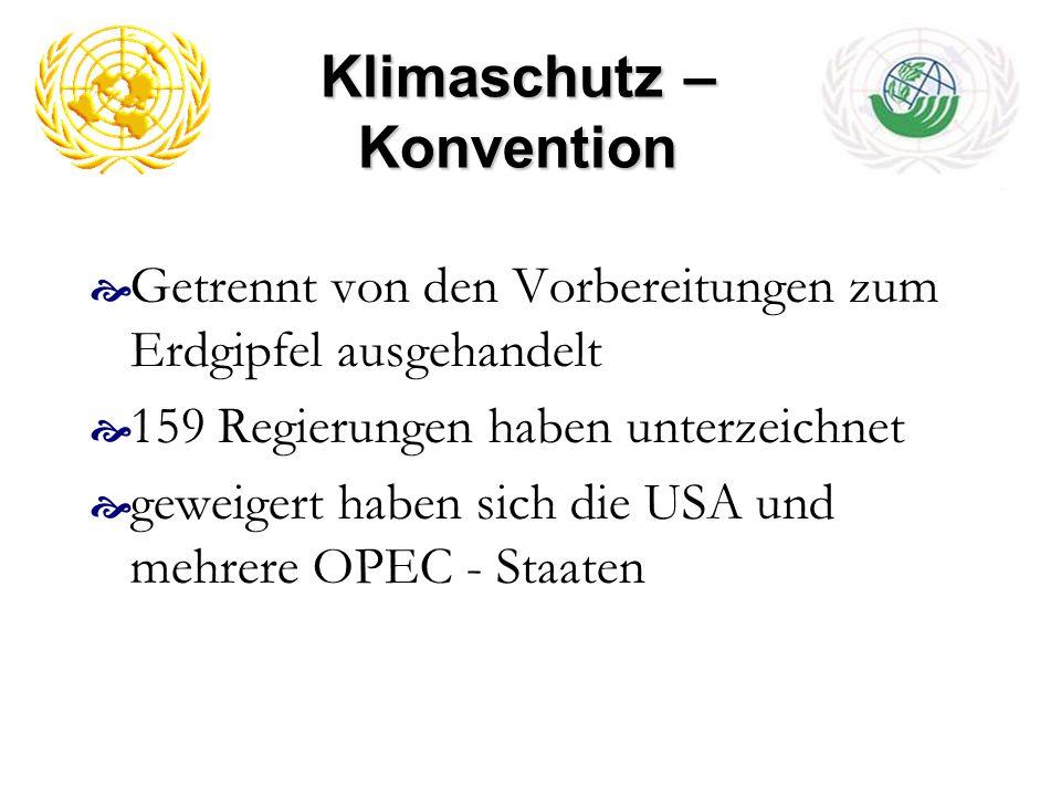 Klimaschutz – Konvention Getrennt von den Vorbereitungen zum Erdgipfel ausgehandelt 159 Regierungen haben unterzeichnet geweigert haben sich die USA u