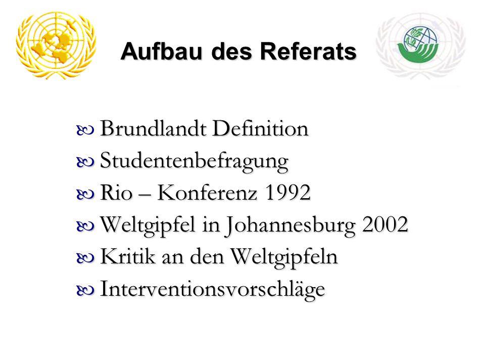 Aufbau des Referats Brundlandt Definition Studentenbefragung Studentenbefragung Rio – Konferenz 1992 Rio – Konferenz 1992 Weltgipfel in Johannesburg 2