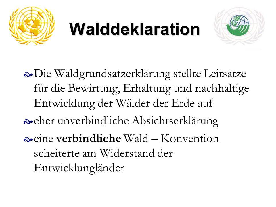 Walddeklaration Die Waldgrundsatzerklärung stellte Leitsätze für die Bewirtung, Erhaltung und nachhaltige Entwicklung der Wälder der Erde auf eher unv