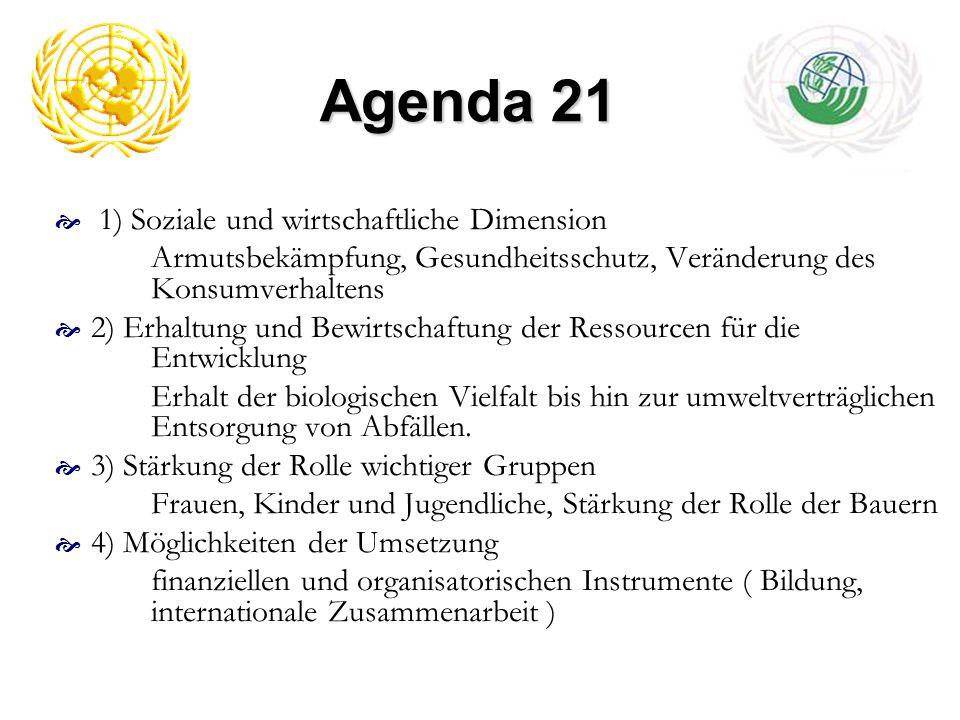 Agenda 21 1) Soziale und wirtschaftliche Dimension Armutsbekämpfung, Gesundheitsschutz, Veränderung des Konsumverhaltens 2) Erhaltung und Bewirtschaft
