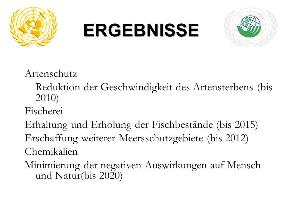 ERGEBNISSE Artenschutz Reduktion der Geschwindigkeit des Artensterbens (bis 2010) Fischerei Erhaltung und Erholung der Fischbestände (bis 2015) Erscha