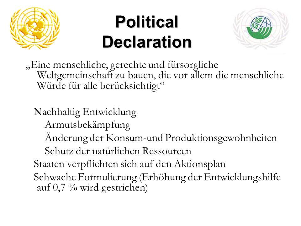 Political Declaration Eine menschliche, gerechte und fürsorgliche Weltgemeinschaft zu bauen, die vor allem die menschliche Würde für alle berücksichti
