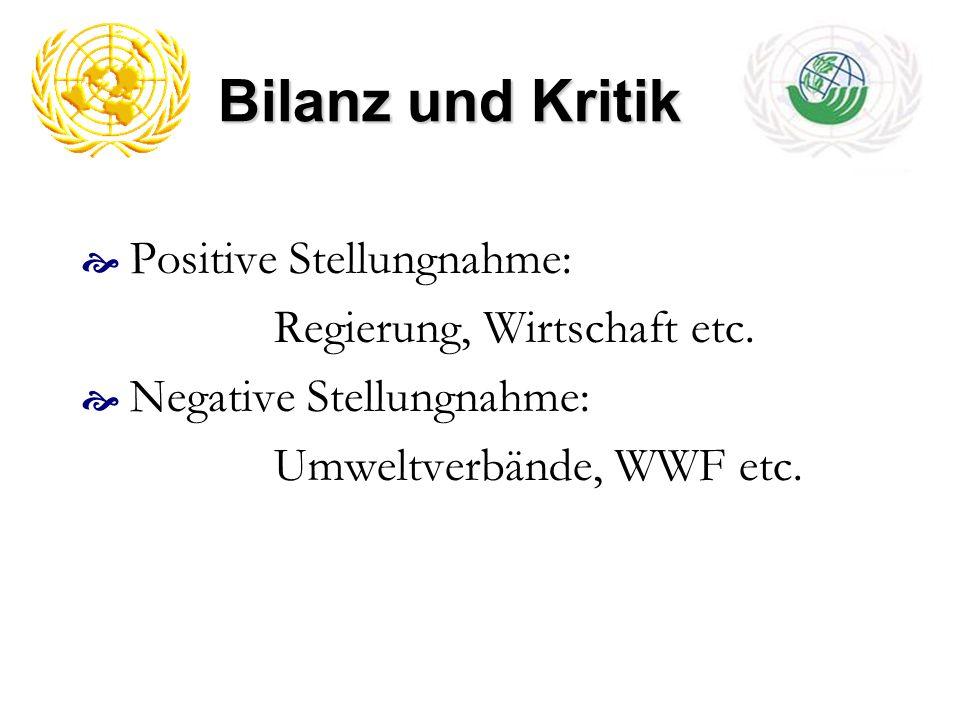 Bilanz und Kritik Positive Stellungnahme: Regierung, Wirtschaft etc. Negative Stellungnahme: Umweltverbände, WWF etc.