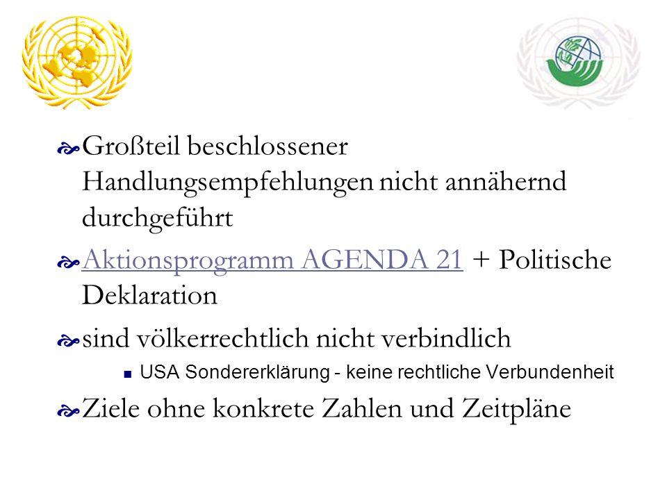 Großteil beschlossener Handlungsempfehlungen nicht annähernd durchgeführt Aktionsprogramm AGENDA 21 + Politische Deklaration Aktionsprogramm AGENDA 21