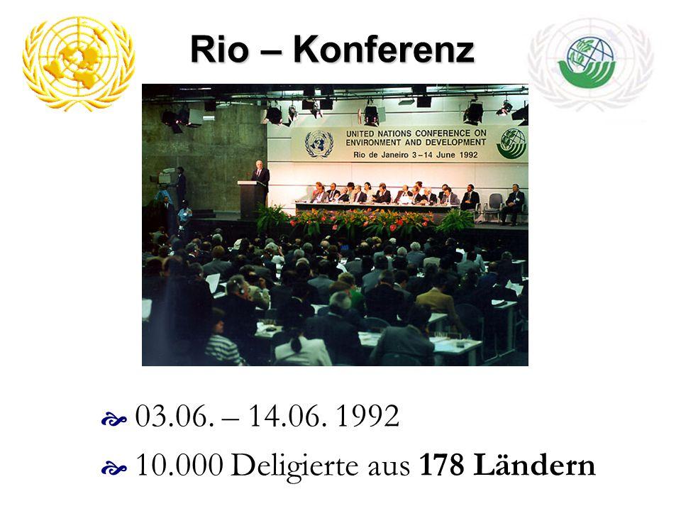Rio – Konferenz 1992 Ziel war es Weichen für eine weltweite nachhaltige Entwicklung zu stellen Abhängigkeit des Menschen von seiner Umwelt Rückkopplung weltweiter Umweltveränderungen auf sein Verhalten seine Handlungsmöglichkeiten