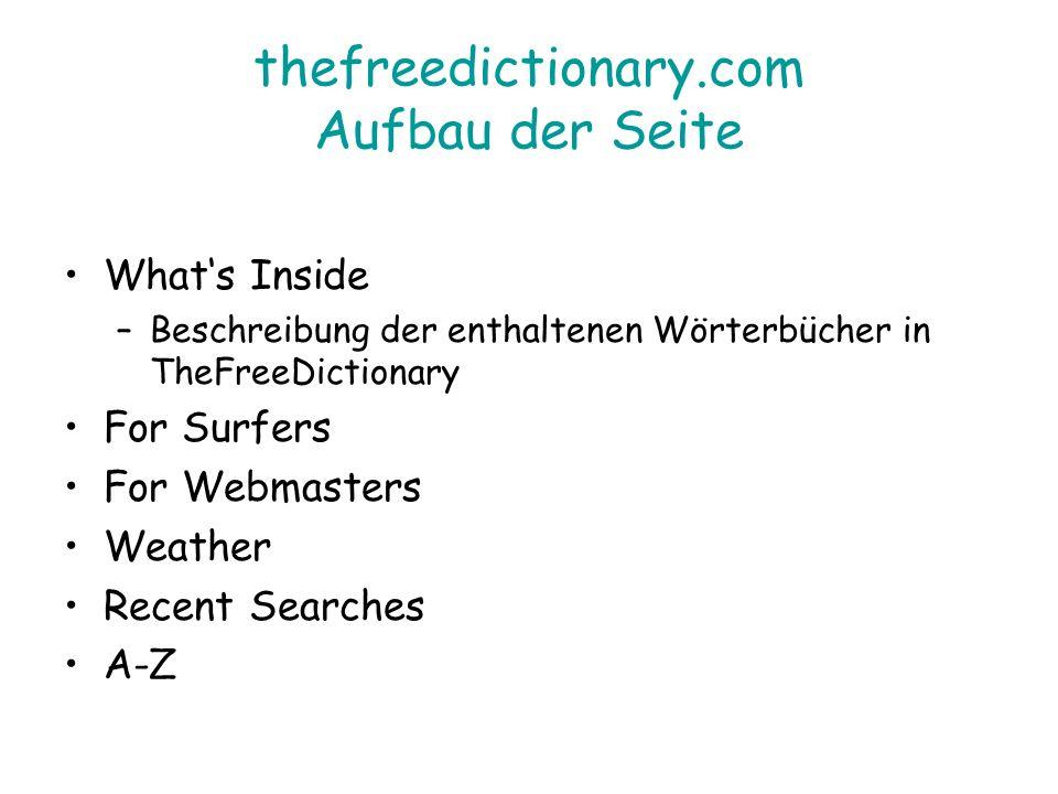 thefreedictionary.com Aufbau der Seite Whats Inside –Beschreibung der enthaltenen Wörterbücher in TheFreeDictionary For Surfers For Webmasters Weather