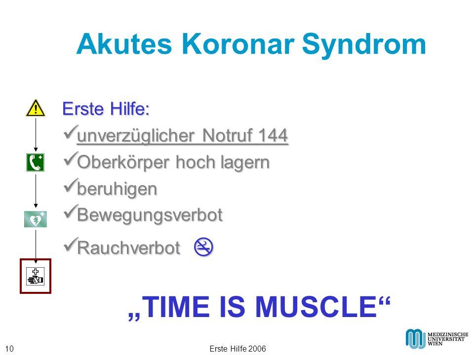 Erste Hilfe 200610 Akutes Koronar Syndrom Erste Hilfe: unverzüglicher Notruf 144 unverzüglicher Notruf 144 Oberkörper hoch lagern Oberkörper hoch lage
