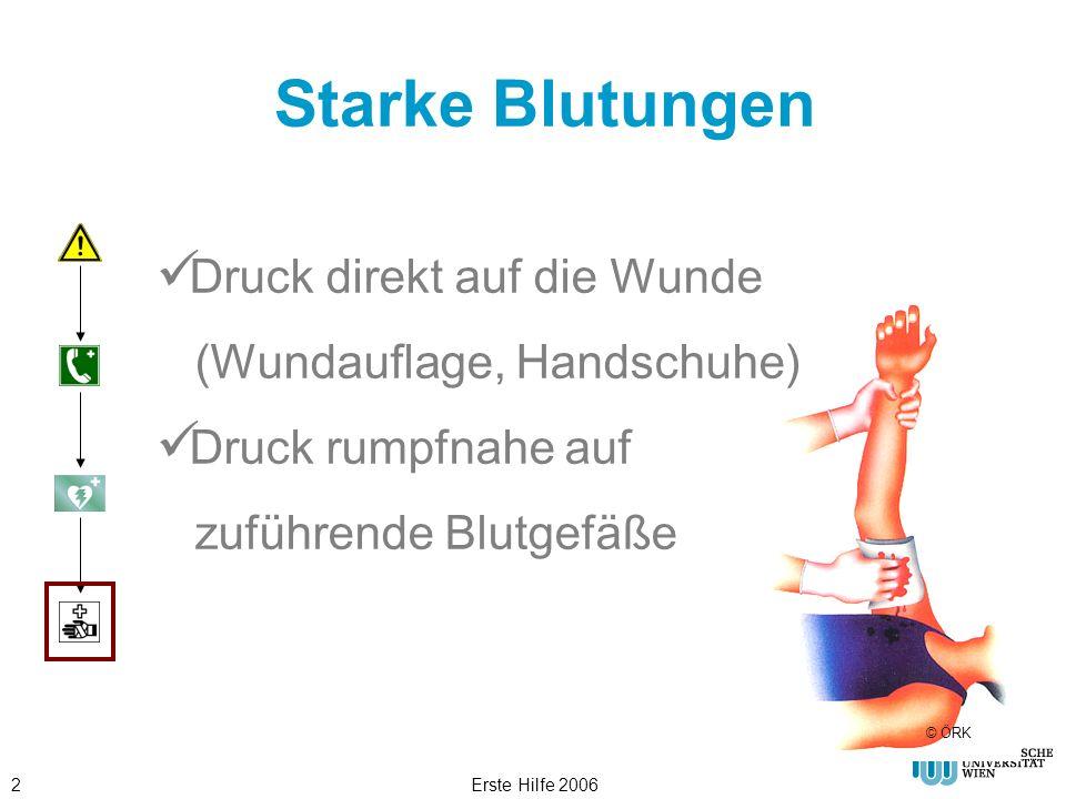 Erste Hilfe 20062 Starke Blutungen Druck direkt auf die Wunde (Wundauflage, Handschuhe) Druck rumpfnahe auf zuführende Blutgefäße © ÖRK