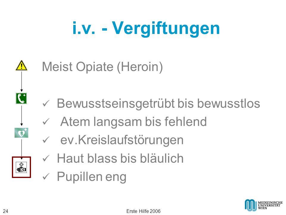Erste Hilfe 200624 i.v. - Vergiftungen Meist Opiate (Heroin) Bewusstseinsgetrübt bis bewusstlos Atem langsam bis fehlend ev.Kreislaufstörungen Haut bl