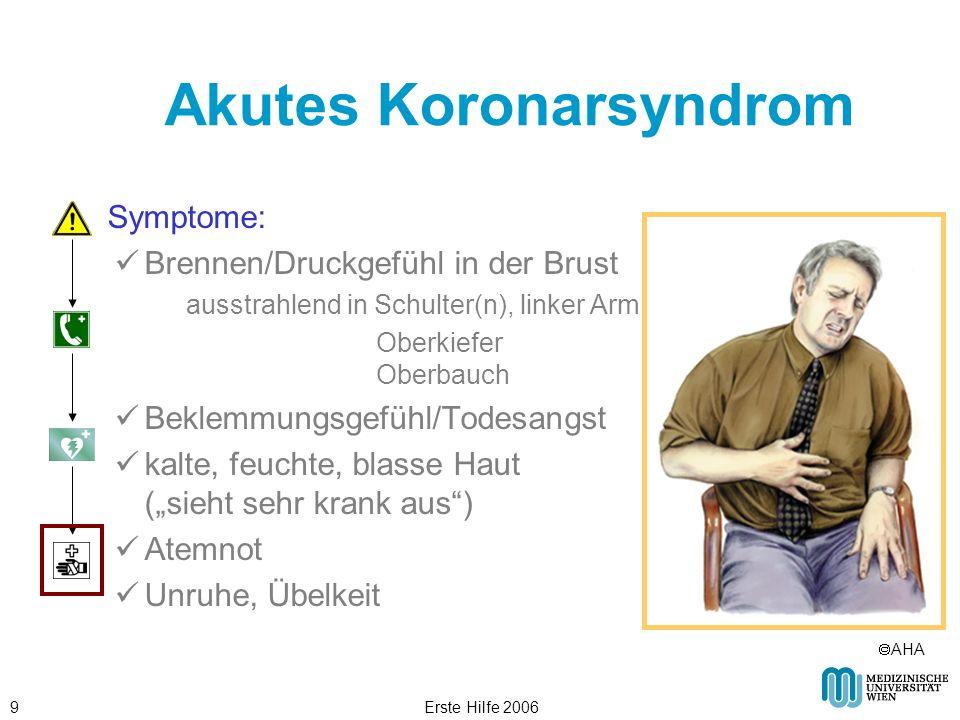 Erste Hilfe 20069 Akutes Koronarsyndrom Symptome: Brennen/Druckgefühl in der Brust ausstrahlend in Schulter(n), linker Arm Oberkiefer Oberbauch Beklem
