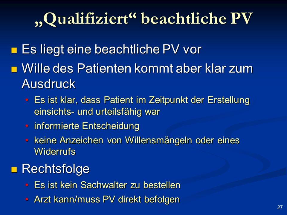 27 Qualifiziert beachtliche PV Es liegt eine beachtliche PV vor Es liegt eine beachtliche PV vor Wille des Patienten kommt aber klar zum Ausdruck Will