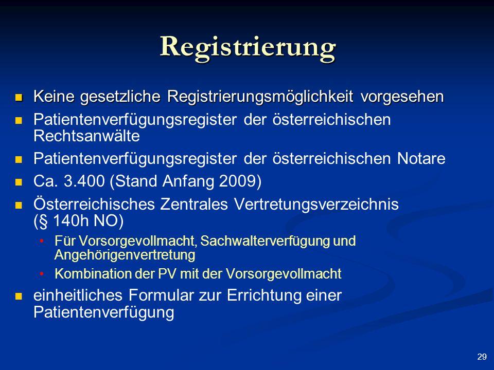 29 Registrierung Keine gesetzliche Registrierungsmöglichkeit vorgesehen Keine gesetzliche Registrierungsmöglichkeit vorgesehen Patientenverfügungsregi