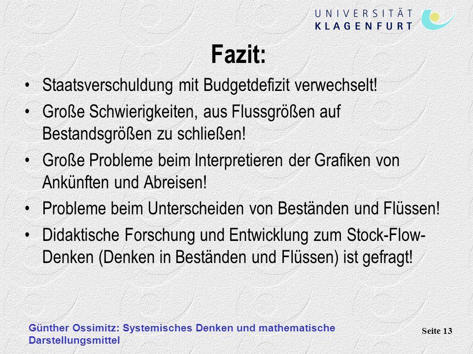 Günther Ossimitz: Systemisches Denken und mathematische Darstellungsmittel Seite 13 Fazit: Staatsverschuldung mit Budgetdefizit verwechselt! Große Sch