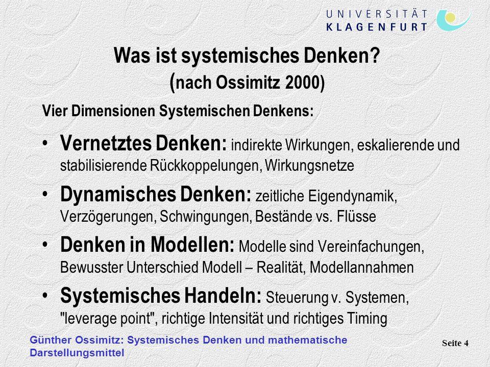 Günther Ossimitz: Systemisches Denken und mathematische Darstellungsmittel Seite 15 Zeitbezogene Systemgesetze: Shifting the Burden (Problemverschiebung, nach Senge 1990) Problem Zahnweh: Aspirin statt Zahnarztbesuch.