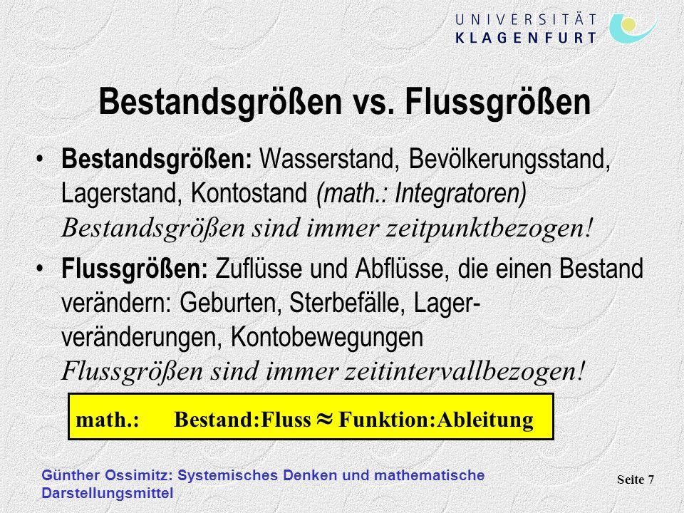 Günther Ossimitz: Systemisches Denken und mathematische Darstellungsmittel Seite 7 Bestandsgrößen vs. Flussgrößen Bestandsgrößen: Wasserstand, Bevölke