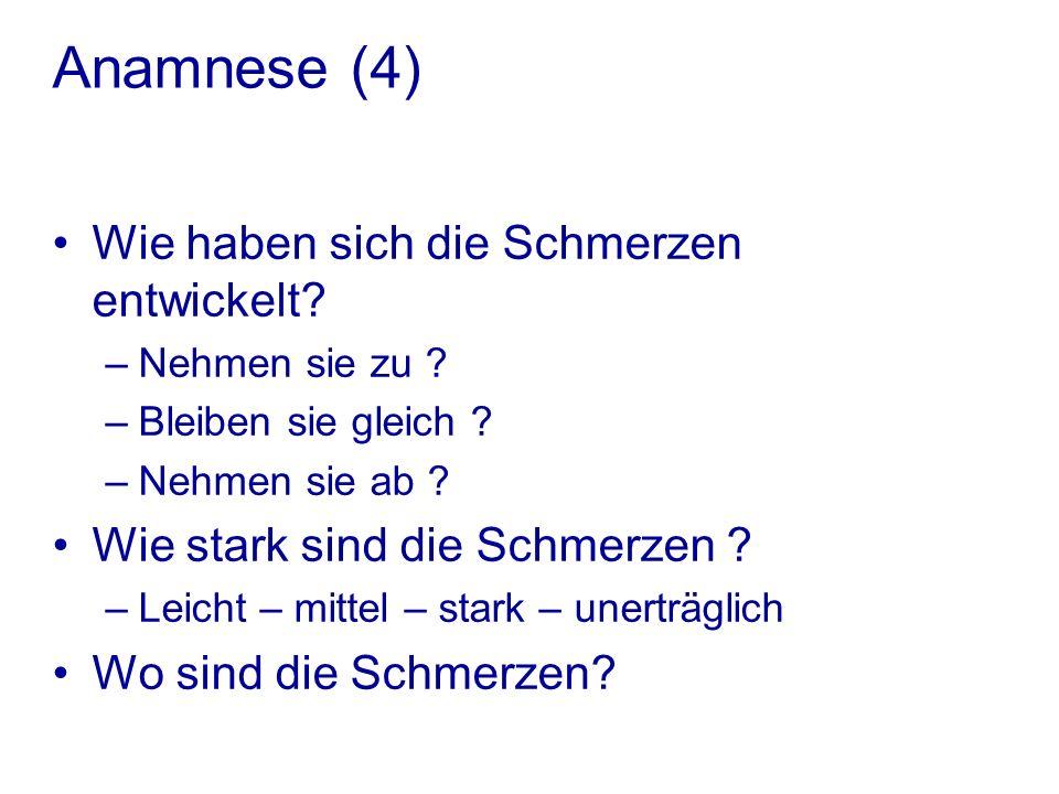 Anamnese (4) Wie haben sich die Schmerzen entwickelt.