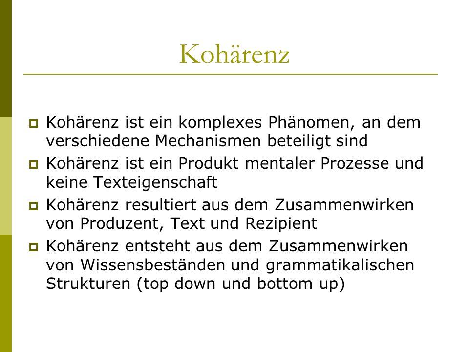 Kohärenz - Propositionen Die Anordnung von Argumenten: P1 (FRESSEN KATZE MAUS) vs.