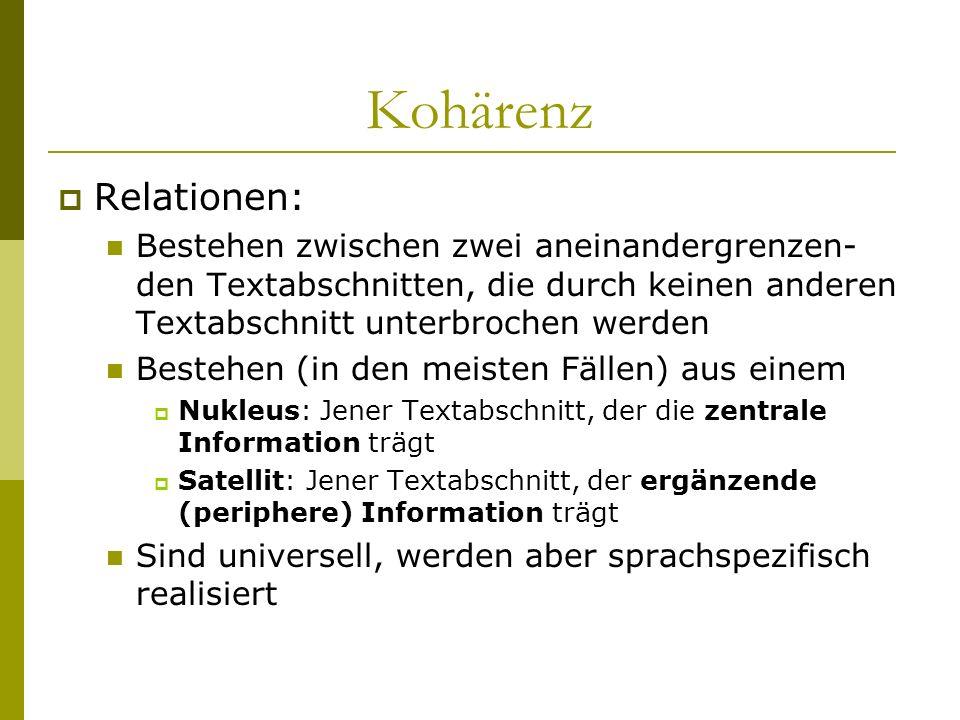 Kohärenz Relationen: Bestehen zwischen zwei aneinandergrenzen- den Textabschnitten, die durch keinen anderen Textabschnitt unterbrochen werden Bestehe