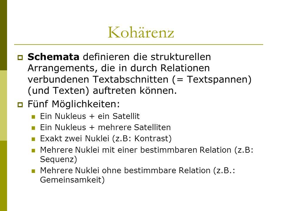 Kohärenz Schemata definieren die strukturellen Arrangements, die in durch Relationen verbundenen Textabschnitten (= Textspannen) (und Texten) auftrete