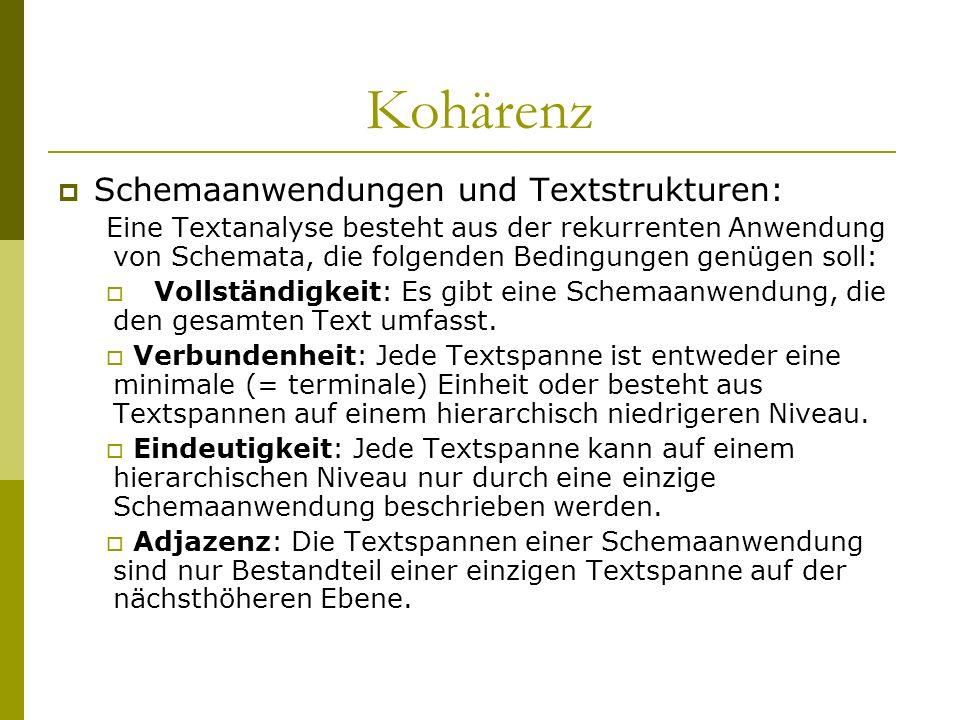 Kohärenz Schemaanwendungen und Textstrukturen: Eine Textanalyse besteht aus der rekurrenten Anwendung von Schemata, die folgenden Bedingungen genügen
