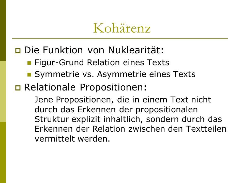 Die Funktion von Nuklearität: Figur-Grund Relation eines Texts Symmetrie vs. Asymmetrie eines Texts Relationale Propositionen: Jene Propositionen, die